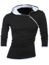 Slim-Fit Side Zipper Design Pullover Hoodie - WHITE AND BLACK