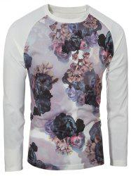 Crew Neck Raglan Sleeve Floral Print T-Shirt - COLORMIX XL