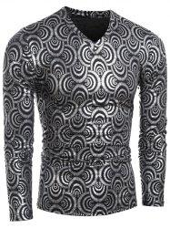 Scale Print Long Sleeve V-Neck T-Shirt