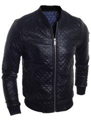 Stand Collar All Over Rhombus PU Jacket - BLACK