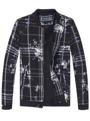 Stand Collar Tie-Dyed Plaid Jacket -