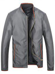 Brief style stand Collar Slim-Fit Jacket - Gris Clair L