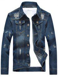 Pocket Design Broken Hole Denim Jacket