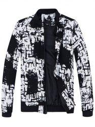 Stand Collar All-Over Abstract Print Jacket - WHITE/BLACK 4XL
