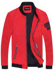 Zipper Pocket Patch Design Sleeve Jacket - RED 4XL