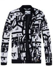 Abstract Print Stand Collar Jacket