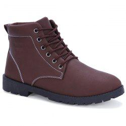 Tie Up PU Leather Vintage Boots - BROWN