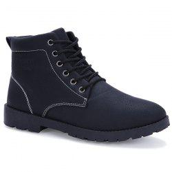 Tie Up PU Leather Vintage Boots - BLACK