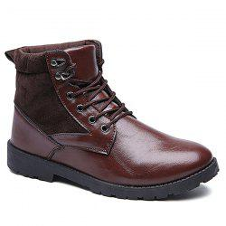 Suede Spliced Tie Up PU Leather Vintage Boots - BROWN
