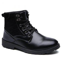 Suede Spliced Tie Up PU Leather Vintage Boots - BLACK