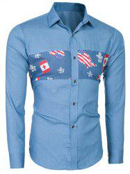 Slim-Fit Flag Print Long Sleeve Shirt -