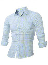 Slim-Fit Long Sleeve Plaid Pocket Shirt -