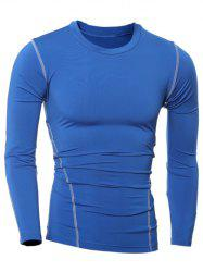 Slim-Fit Quick-Dry Round Neck Long Sleeve T-Shirt - BLUE