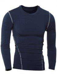 Slim-Fit Quick-Dry Round Neck Long Sleeve T-Shirt - CADETBLUE