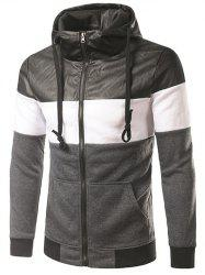 PU-Leather Spliced Hooded Color Block Zip-Up Hoodie -