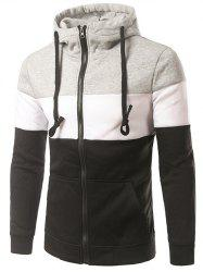 Spliced Design Hooded Color Block Zip-Up Hoodie - BLACK 2XL