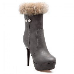 Platform Faux Fur High Heel Boots -