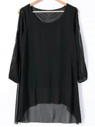 Slit Sleeve Asymmetrical Plain Chiffon Dress - BLACK
