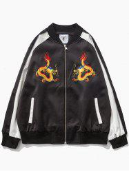 Color Block Raglan Sleeve Dragon Embroidered Zip-Up Jacket