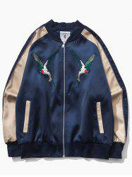Color Block Raglan Sleeve Bird Embroidered Zip-Up Jacket