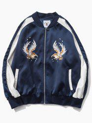 Color Block Raglan Sleeve Eagle Embroidered Zip-Up Jacket