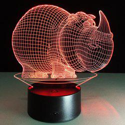 3D Halloween Rhinoceros Shape Touch Colorful Night Light