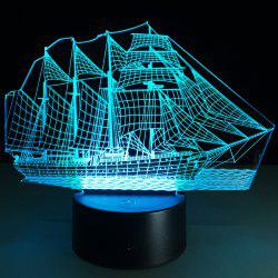 Sailing Ship Shape Touch Colorful Night Light - TRANSPARENT