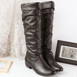 Ruched Low Heel Fold Over Knee High Boots