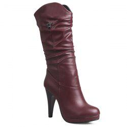 High Heel Ruched Mid Calf Boots - WINE RED 40