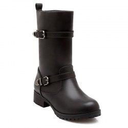 Buckle Embellished Mid Calf Boots - BLACK 39
