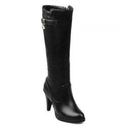 Metallic Buckle High Heel Mid Calf Boots