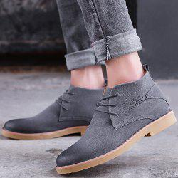 Lace Up Pointed Toe Casual Shoes - GRAY