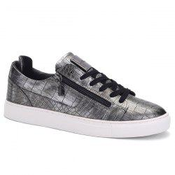 Round Toe Zip Embellished Crocodile Embossed Casual Shoes - DEEP GRAY