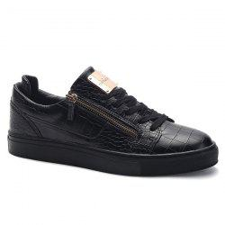 Round Toe Zip Embellished Crocodile Embossed Casual Shoes - BLACK 44