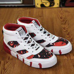 Tie Up Color Block Spliced High Top Skate Shoes - RED