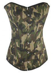 Camo Lace Up Steel Boned Strapless Corset Top