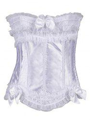 Ruffles Lace Insert Slimming Bridal Corset Top - WHITE