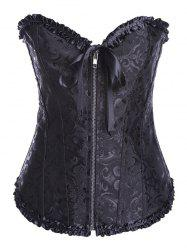 Vintage Lace Up Zipped Corset - BLACK