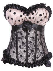 Tiered Mesh Insert Polka Dot Corset Top