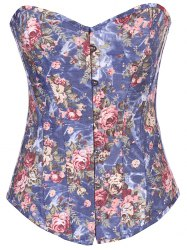 Denim Lace Up Floral Corset Top