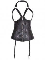 Halter Faux Leather Cupless Corset -