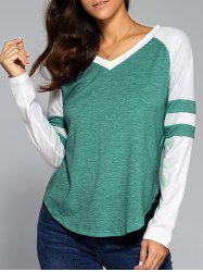 Long Sleeve V Neck Arc-Shaped Hem T-Shirt -