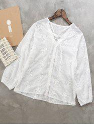 V Neck Floral Embroidered Shirt -