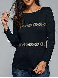 Sequined Long Sleeve Scoop Neck T-Shirt - BLACK S