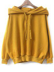 Drawstring Fleece Pullover Hoodie - YELLOW ONE SIZE