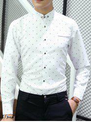 Button-Down Polka Dot Long Sleeve Shirt