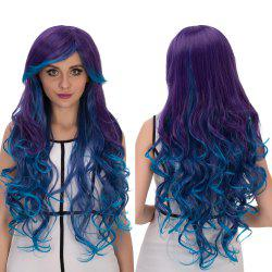 Long Oblique Bang Wavy Multicolor Cosplay Synthetic Wig