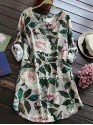 Linen Floral Printed Shirt Dress with Sleeves - GRAY M