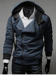 Street Style Side Zipper Studs Long Sleeves Hoodies -