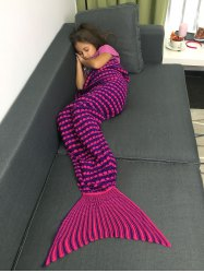 Color Block Crochet Knitting Fish Scales Design Mermaid Tail Style Kids' Blanket -